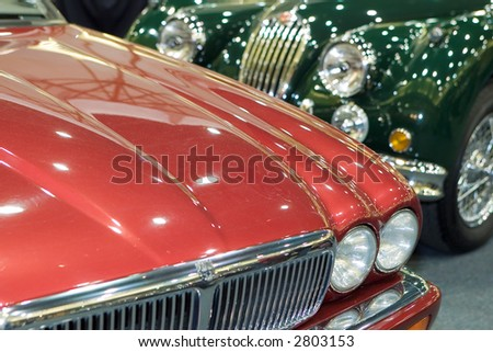 bonnets of Jaguar classic cars - stock photo