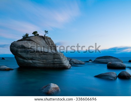 Bonsai Rock, Lake Tahoe after sunset - stock photo