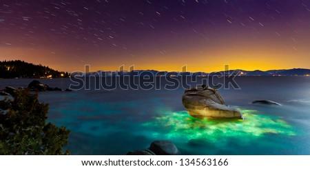 Bonsai Rock, Lake Tahoe, Nevada - stock photo