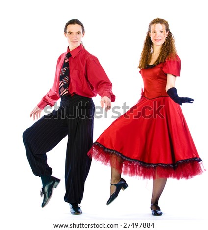Boogie-voogie dancers isolated on white - stock photo
