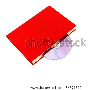 Book and disk isolated on white background