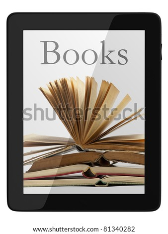 Book and generic teblet computer 3D model isolated on white, digital library concept