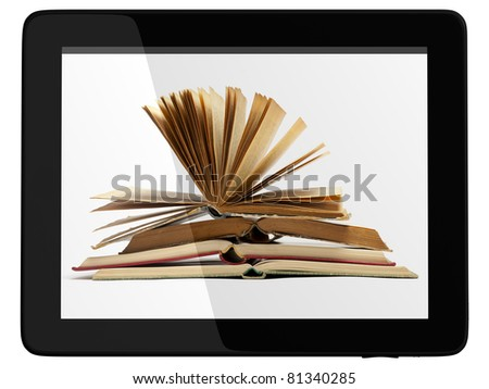 Book and generic teblet computer 3D model isolated on white, digital library concept - stock photo