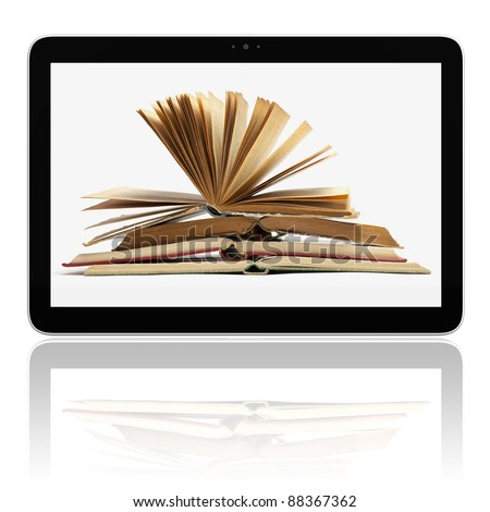 Book and generic teblet computer 3D model isolated on white, E-book E-reader concept - stock photo