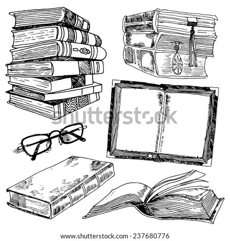 Book and glasses library collection black sketch decorative icons set isolated  illustration