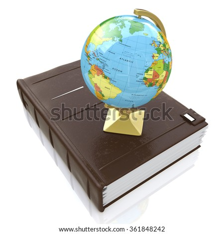 Book and globe in the design of information related to education and knowledge - stock photo