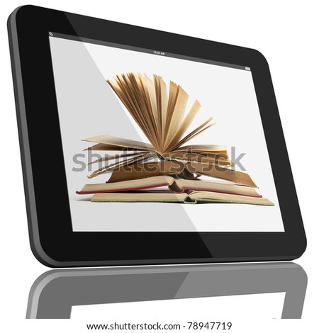 Book and tablet computer 3D model isolated on white, digital library concept, Objects with Clipping Paths