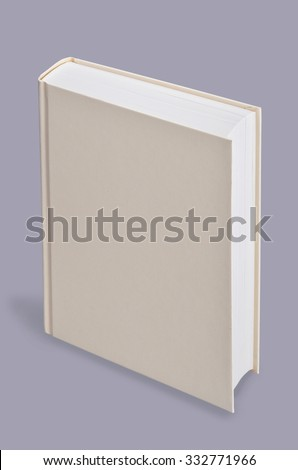 Book, blank book standing on grey background,  Perspective view. - stock photo