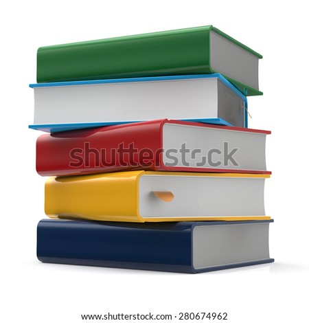 Book blank stack of books covers colorful textbooks multicolored bookmark. School studying information content learn icon concept. 3d render isolated on white background - stock photo