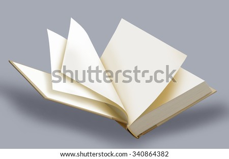 Book, blank, white ajar hard cover-page and pages - stock photo