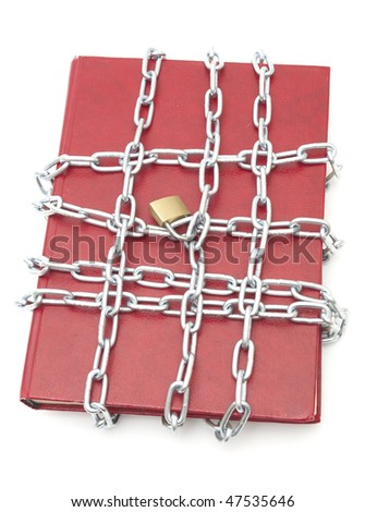 Book, chain and padlock isolated on white - stock photo