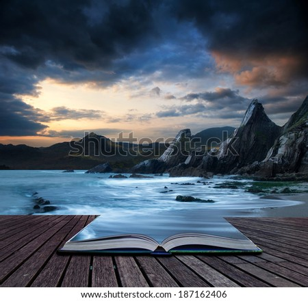 Book concept Stunning mountain and sea sunset landscape  - stock photo