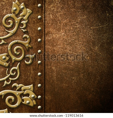 Book cover. Old ornament leather texture background - stock photo