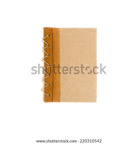 Book cover rustic recycled paper isolated on white background  - stock photo