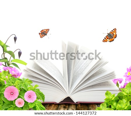 Book, flower and butterfly. Isolated over white - stock photo