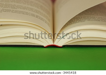 Book, green area for copy space - stock photo