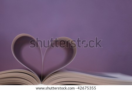 book , heart shape - stock photo
