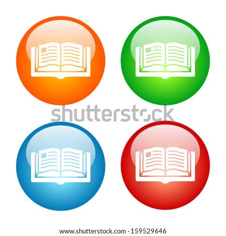 Book Icon Glass Button Icon Set.  Raster version. - stock photo