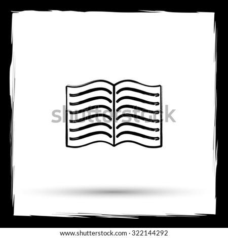 Book icon. Internet button on white background. Outline design imitating paintbrush. - stock photo
