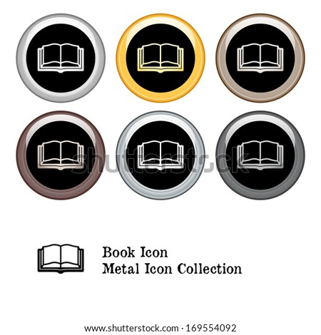 Book Icon Square Icon Set with Color Variations.  Raster version. - stock photo