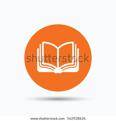 book icon study literature sign education stock vector  study literature sign education textbook symbol orange circle button flat