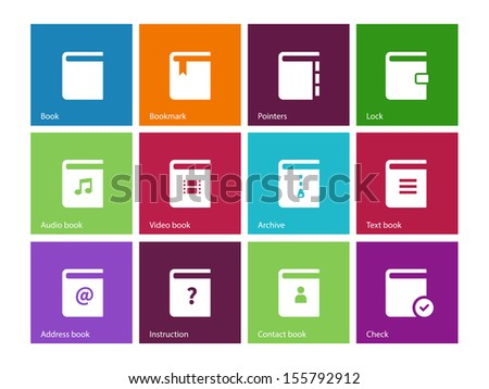 Book icons on color background. See also vector version. - stock photo