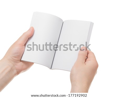 Book in hands isolated on white background - stock photo