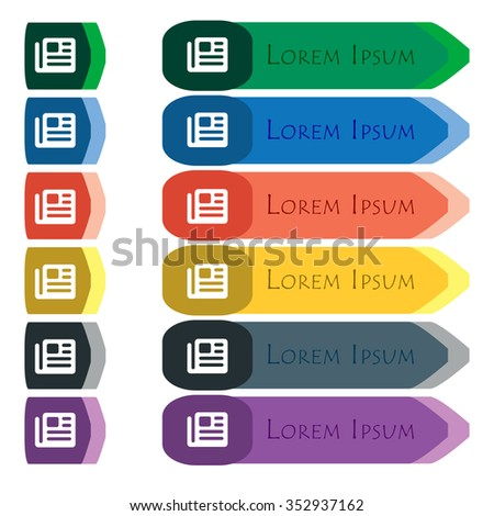 book, newspaper icon sign. Set of colorful, bright long buttons with additional small modules. Flat design.  - stock photo