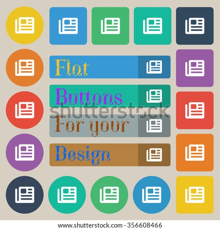 book, newspaper icon sign. Set of twenty colored flat, round, square and rectangular buttons. illustration - stock photo