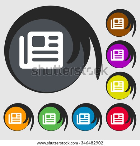 book, newspaper icon sign. Symbol on eight colored buttons. illustration - stock photo