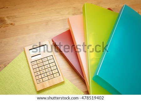 Book, Notebook, Documents on working desk in the office