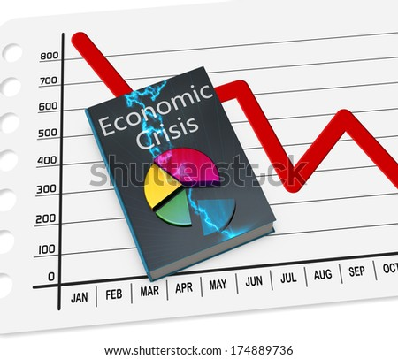 Book of the economic crisis, with data - stock photo