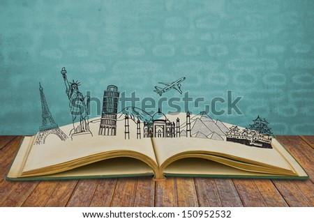 Book of travel (Japan,France,I taly,New York,India,egypt) - stock photo