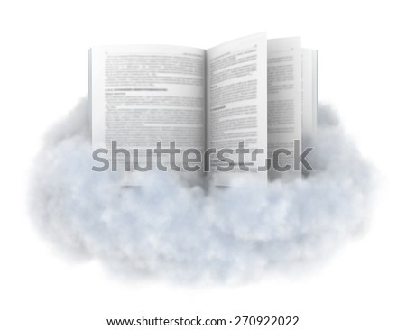 Book on a cloud isolated on white. - stock photo