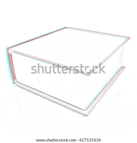 Book on a white background. Pencil drawing. 3D illustration. Anaglyph. View with red/cyan glasses to see in 3D.