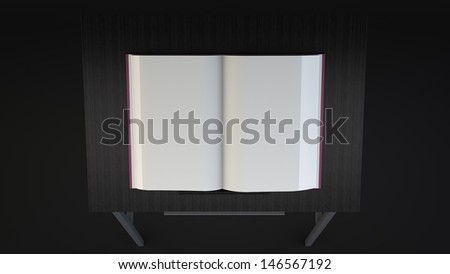 Book on table mockup. tome with blank white pages lying on dark wooden pedestal. folio open with empty pages