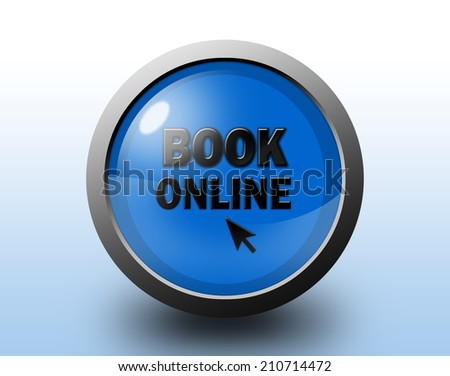Book online icon. Circular glossy blue button. - stock photo