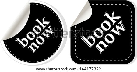 Book online now stickers set, raster - stock photo