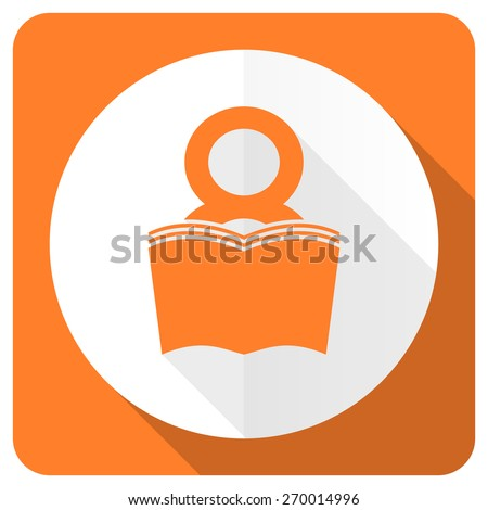 book orange flat icon reading room sign bookshop symbol  - stock photo