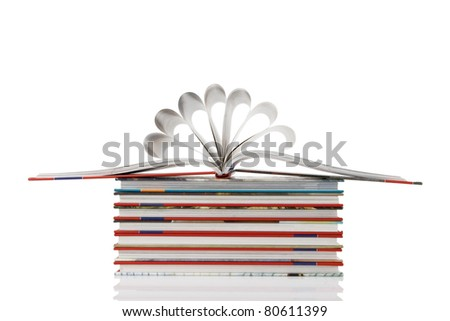 book pages folded into a flower shape on white background - stock photo