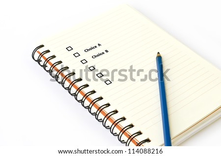 Book Pencil and choice text - stock photo