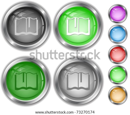 Book. Raster internet buttons. Vector version is in portfolio. - stock photo