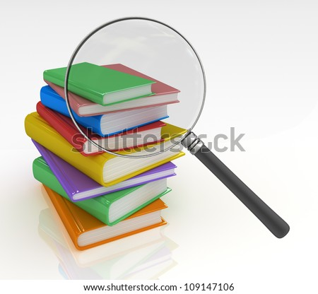 Book Search  Magnifying glass trying to find the right book - stock photo