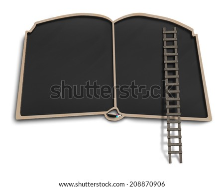 Book shape black board with wooden ladder isolated in white background - stock photo