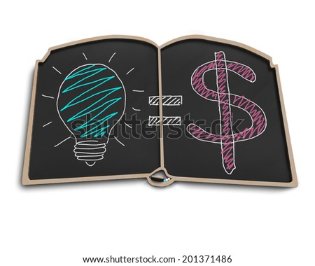 Book shape blackboard with idea is money doodles isolated in white - stock photo