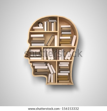 book shelf in form of head on gray backgrounds - stock photo