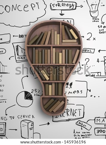 book shelf in form of lamp and drawing concept - stock photo