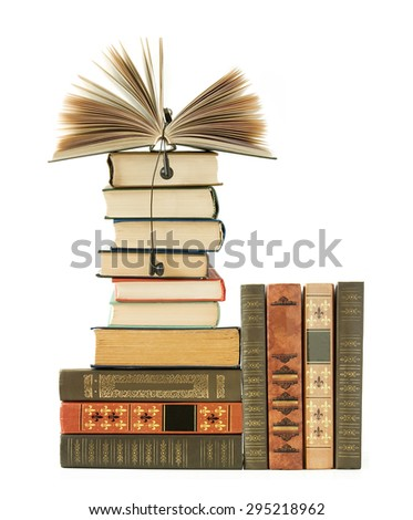 Book shelf with antique books. Audio books concept - stock photo