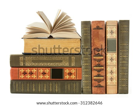 Book shelf with antique books isolated on white background - stock photo
