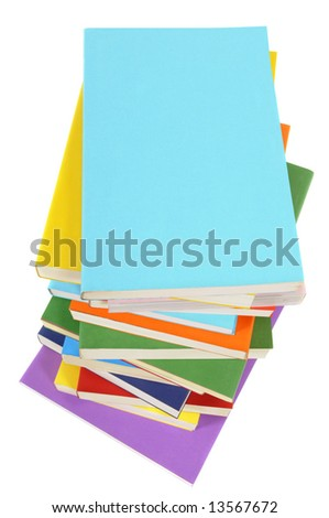 Book stack, vertical - stock photo